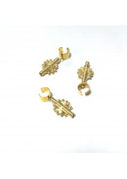 bagues pour tresses, vanilles, locks, avec breloque ethnique Akan dorée à l'or fin